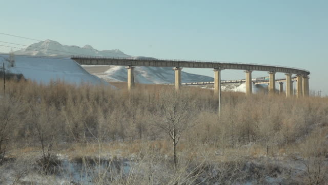ws freight train in snowy landscape / inner mongolia, china - independent mongolia stock videos & royalty-free footage