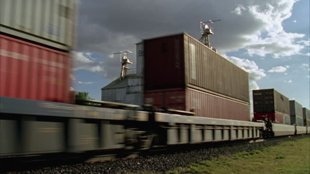 ws freight train moving by grain mill / marfa, texas, usa - cargo train stock videos & royalty-free footage