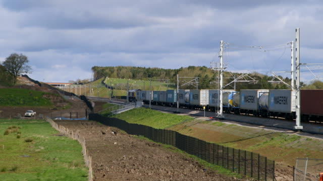 WS PAN Freight train moving through railroad track / Doncaster, South Yorkshire, England, United Kingdom
