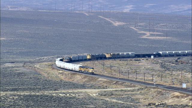 Godståg på väg till medicin Bow - Flygfoto - Wyoming, stora Horn County, USA