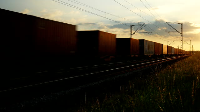 PAN Freight Train Passing By At Sunset (4K/UHD to HD)