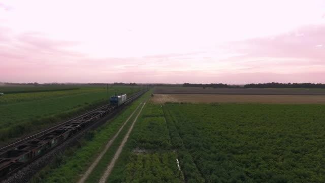 田舎の高架道路を通過する貨物列車