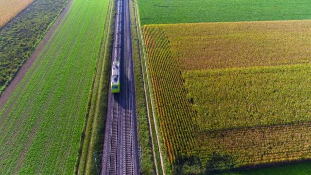 vídeos y material grabado en eventos de stock de tren de carga pasando por campo en la tarde - tren de carga
