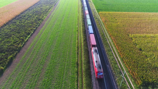 freight train passing through countryside - container stock videos & royalty-free footage