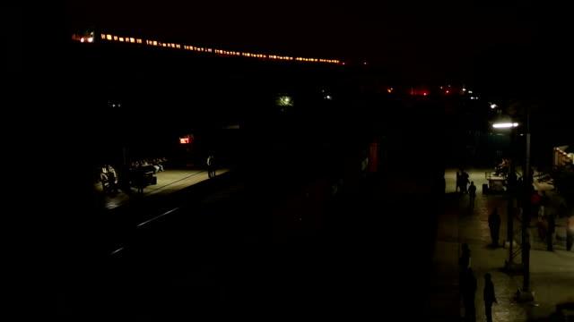 Freight train passing through the platform