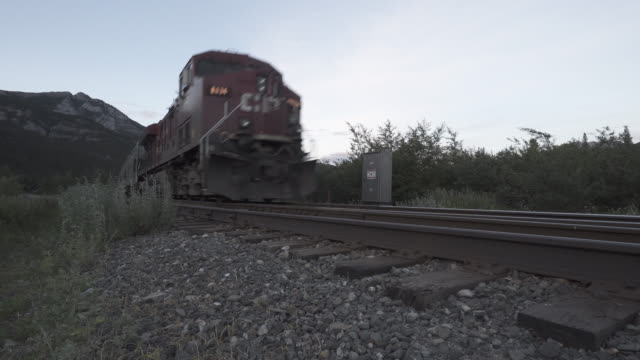 freight train rumbles down mountain track, dawm - rail freight stock videos and b-roll footage