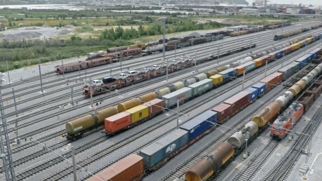 aerial freight train terminal - rail transportation stock videos & royalty-free footage