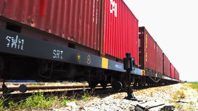 freight train with cargo containers - cargo train stock videos & royalty-free footage