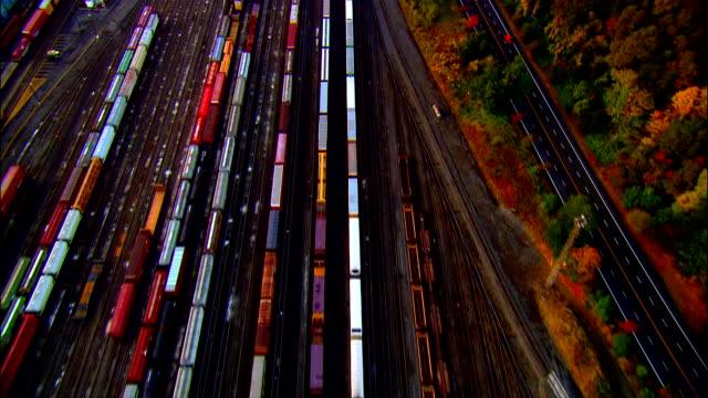 aerial freight trains in yard, portland, oregon, usa - portland oregon fall stock videos & royalty-free footage