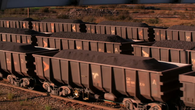 freight transportation from an iron ore mine - eisenerz stock-videos und b-roll-filmmaterial