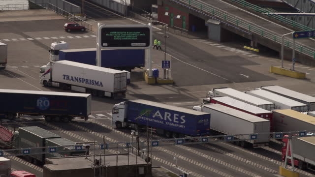 ws ha freight trucks activity at port / dover, kent, united kingdom - dover england stock videos and b-roll footage