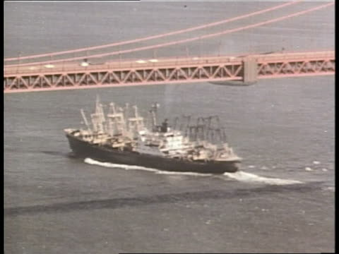freighter ship sails under the golden gate bridge. - 1968 stock videos & royalty-free footage