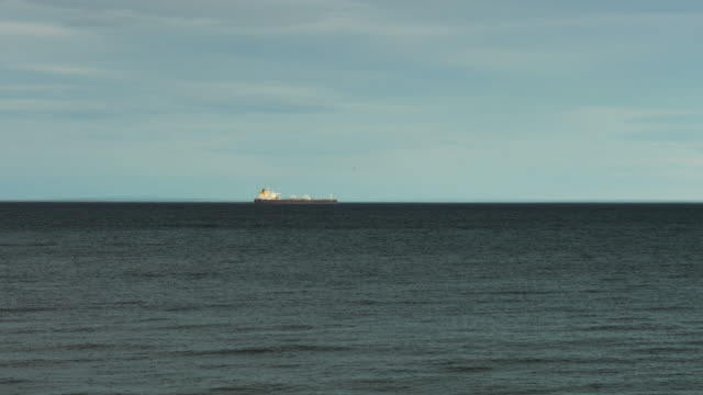 Freighter vessel navigating in the Magallanes straight