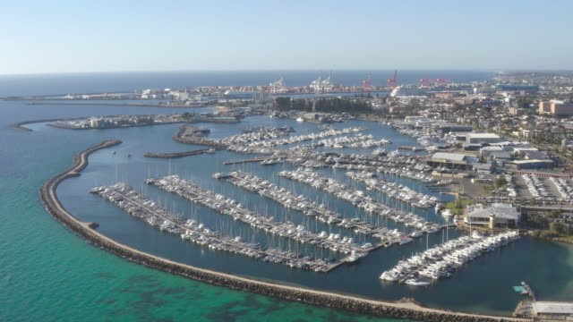 fremantle aerial, harbour inlet for perth western australia - west direction stock videos & royalty-free footage
