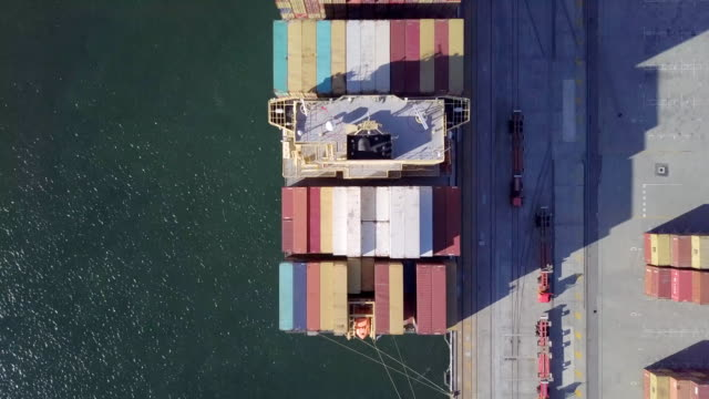 fremantle port perth australia spring 2017 - cargo ship top-down view - freight transportation stock videos & royalty-free footage
