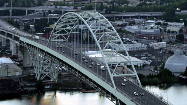 aerial fremont bridge across willamette river in portland - ship's bridge stock videos & royalty-free footage