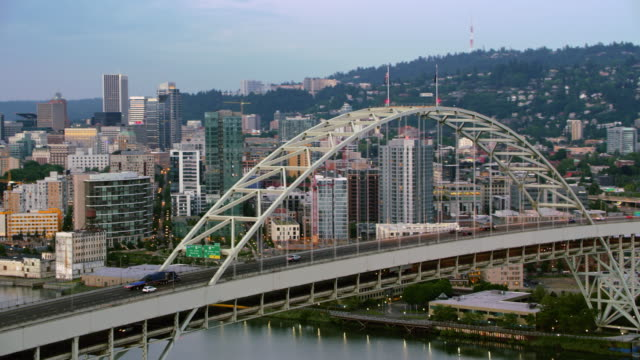 aerial fremont bridge and downtown portland early in the morning - portland oregon stock videos & royalty-free footage