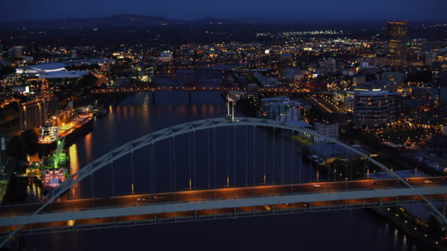 AERIAL Fremont Bridge in Portland at night