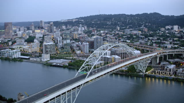 AERIAL Fremont Bridge in Portland at sunset