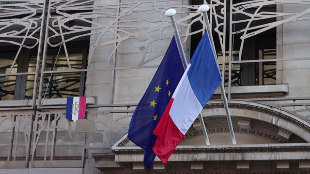 french and european flag - フランス国旗点の映像素材/bロール