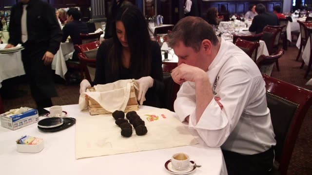 french and italian truffles are sold at delmonicos in new york ny us on february 28 shots wide shots and close ups of an executive chef billy oliva... - fungus stock videos & royalty-free footage