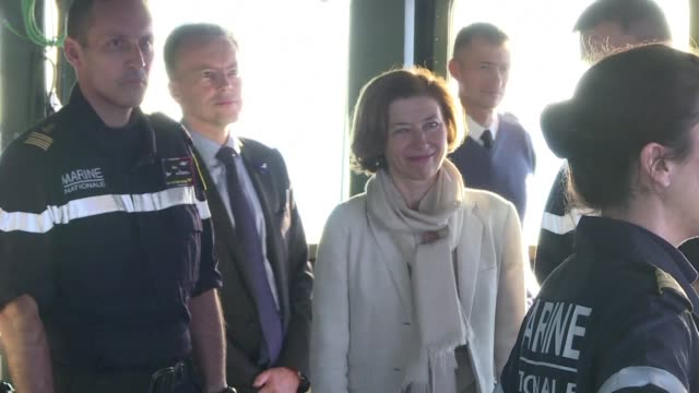 french army minister florence parly tours the charles de gaulle aircraft carrier off the coast of toulon to mark the end of 18 months of... - esercito militare francese video stock e b–roll