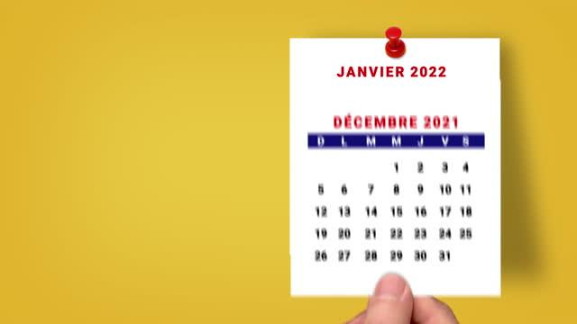 2021-2022フランス暦カウントダウン2022年1月から1月。フランス暦 2021年1月~1月 2022 - 六月点の映像素材/bロール