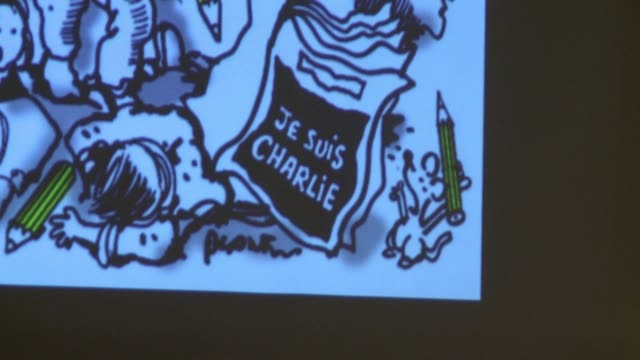 stockvideo's en b-roll-footage met french cartoonist jean plantu called for international education on images after charlie hebdos front page and protests around the world - cartoonist