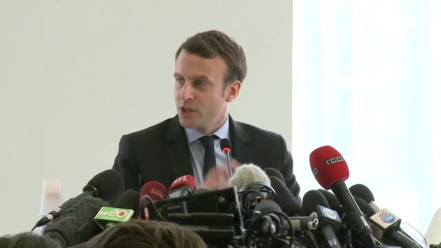 french centrist presidential candidate emmanuel macron is in his hometown of amiens in northern france to meet representatives of workers from a... - outsourcing video stock e b–roll