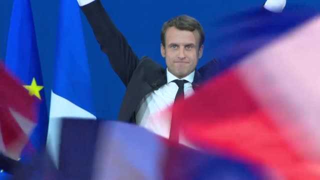 French centrist presidential candidate Macron led on Sunday the first round of voting for president with projections based on partial results showing...