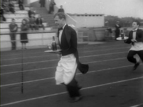 french champion, pierre gironde wins a waiters running race in middlesex. - contest stock videos & royalty-free footage