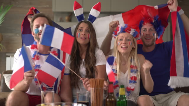 French cheering soccer fans frustrated