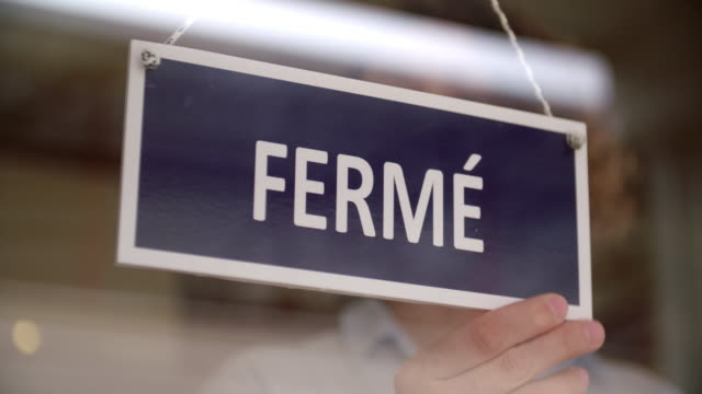 french closed sign - french culture stock videos & royalty-free footage