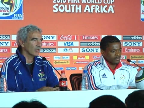 french coach raymond domenech brushed aside france's troubled buildup to the world cup on thursday and said his team was 'ready' ahead of their... - campionato sportivo video stock e b–roll
