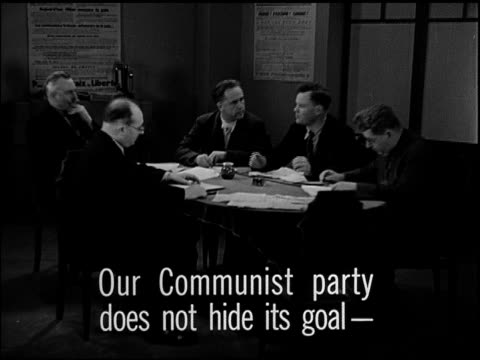 vídeos de stock e filmes b-roll de paris france reprisal french communists meeting at table henry torres jacques duclos sot communist party not hiding goalpreparing for french soviet... - 1947