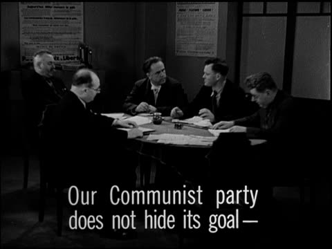 paris france reprisal french communists meeting at table henry torres jacques duclos sot communist party not hiding goalpreparing for french soviet... - communism stock videos & royalty-free footage