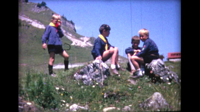 1964 french cub scouts leave for camp - boy scout stock videos and b-roll footage