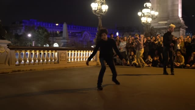 french dancer and choregrapher marieclaude pietragalla is seen during the all night art festival nuit blanche in paris at pont alexandre iii on... - pont alexandre iii stock videos & royalty-free footage