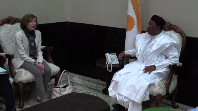 french defence minister florence parly meets president of niger mahamadou issoufou during a visit to discuss the g5 sahel anti terror force - mahamadou issoufou stock videos and b-roll footage