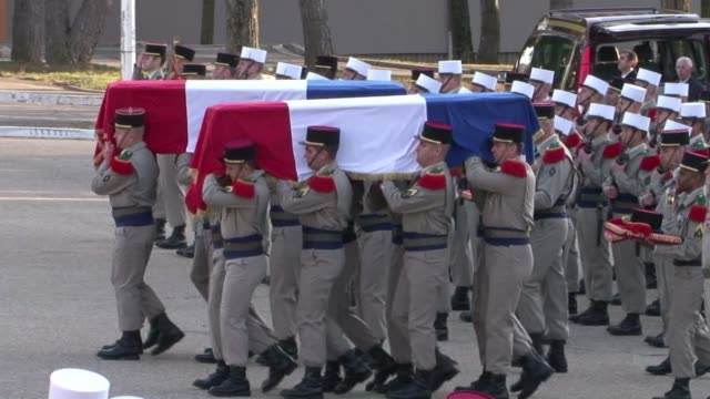 french defence minister gerard longuet pays tribute to two french foreign legion soldiers killed in afghanistan after the taliban infiltrated the... - afghan national army stock videos & royalty-free footage