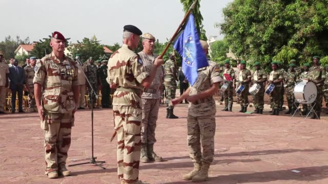 french defence minister jean yves le drian visits mali on friday as france promises to boost its troop numbers in the north of the country to counter... - militant groups stock videos and b-roll footage