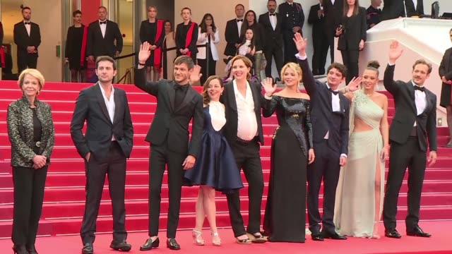 french director justine triet treads the red carpet in cannes surrounded by her cast virginie efira adèle exarchopoulos gaspard ulliel to present her... - 72nd international cannes film festival stock videos and b-roll footage