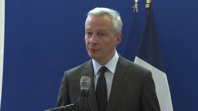vídeos de stock e filmes b-roll de french economy minister bruno le maire says he will work with the us to establish fair and effective digital taxation after the us warned it was... - cargo governamental