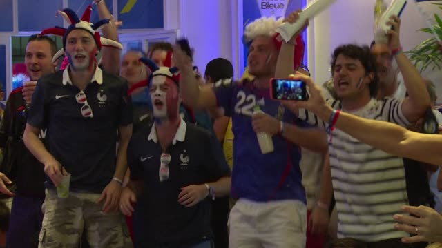 stockvideo's en b-roll-footage met french fans will be heading home disappointed from rio after france suffered from poor finishing in their 10 world cup quarter final defeat by germany - wereldkampioenschap sport