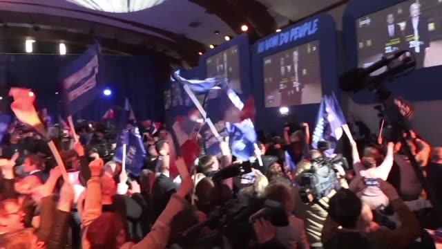 french far right leader marine le pen hailed a historic result sunday after she reached the runoff of the presidential election by finishing second... - runoff election stock videos & royalty-free footage