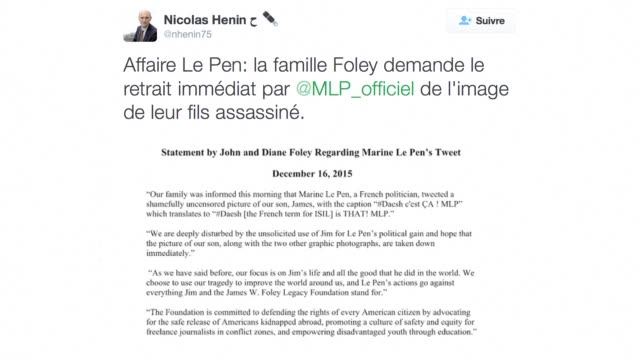 vídeos y material grabado en eventos de stock de french far right leader marine le pen on thursday removed a photograph of the decapitated body of us journalist james foley from her twitter account... - decapitado