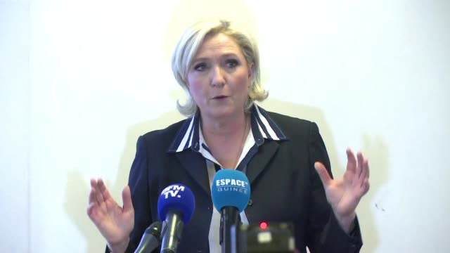 french farright presidential candidate marine le pen promises to allocate 07% of gdp to the overseas development of africa speaking at a rally in... - political rally stock videos & royalty-free footage