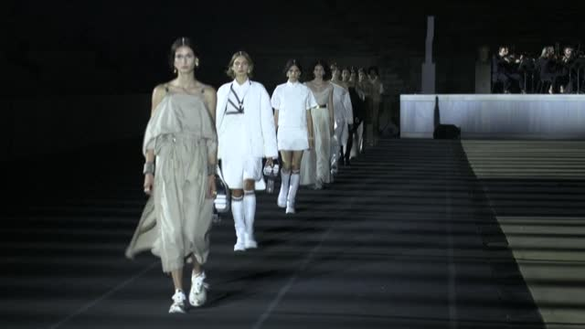 french fashion house dior unveiled its 2022 cruise collection at the site of the first modern olympic games in athens, the first large show with... - cruise collection stock videos & royalty-free footage
