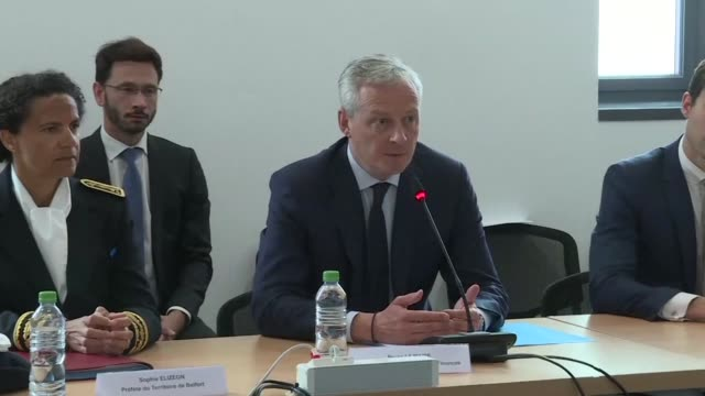 french finance minister bruno le maire is booed on arrival at general electric's belfort factory which employs nearly 4000 people - general electric stock videos and b-roll footage