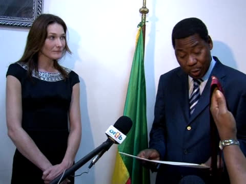 french first lady carla brunisarkozy has received a special honour from the government of benin recognising her work as an ambassador for the global... - benin stock videos and b-roll footage